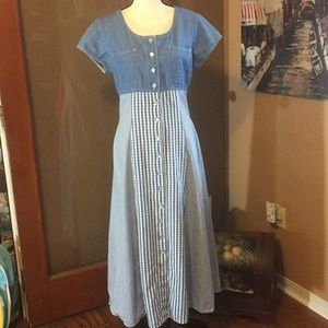 True Blue button front chambray summer dress